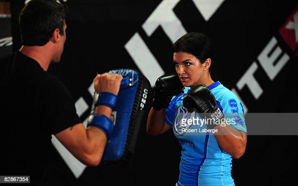 Superstar Gina Carano during the Workout/Media Day with Kimbo Slice and Gina Carano at the Legends Mixed Martial Arts Training Center on September...