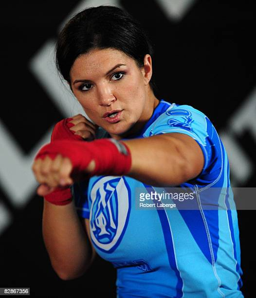 Superstar Gina Carano is seen during the Workout/Media Day with Kimbo Slice and Gina Carano at the Legends Mixed Martial Arts Training Center on...