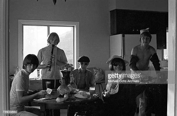 Superstar group 'Buffalo Springfield' relax inside their house on October 30 1967 in Malibu California Richie Furay Stephen Stills Bruce Palmer Neil...