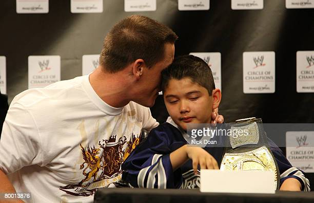 SuperStar John Cena and Make-A-Wish foundation special guest Max, speaks at the WWE and Make-A-Wish partnership announcement at U.S. Airways Center...