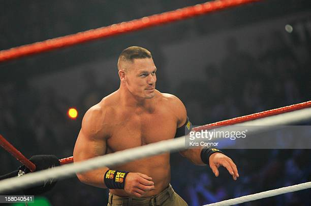 Superstar John Cena performs during the 10th anniversary of WWE Tribute to the Troops at Norfolk Scope Arena on December 9 2012 in Norfolk Virginia