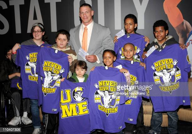 Superstar John Cena visits Children From The Garden of Dreams Foundation and gives them tickets to the WWE event as well as Tee Shirts at the Madison...