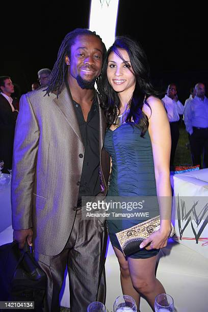 Superstar Kofi Kingston and guest attend WrestleMania Premiere Party A Celebration of Miami Art and Fashion on March 29 2012 in Miami Beach Florida