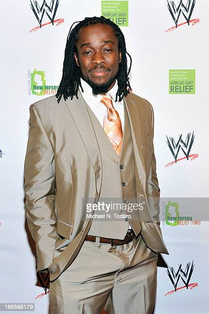 Superstar Kofi Kingston attends WWE Superstars for Sandy Relief at Cipriani Wall Street on April 4 2013 in New York City