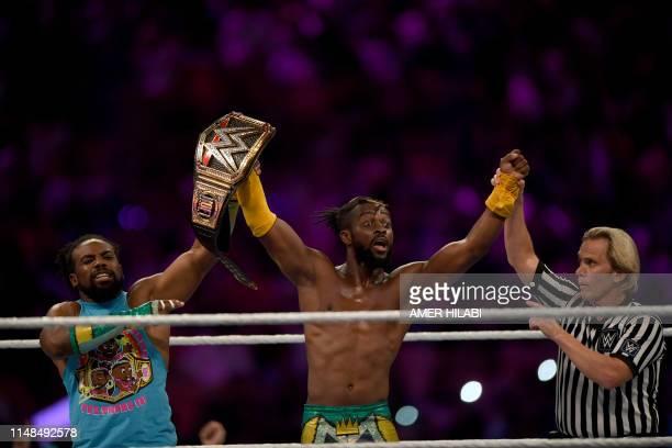 WWE Superstar Kofi Kingston celebrates at the end of the World Wrestling Entertainment Super Showdown event in Saudi Arabia's Red Sea port city of...