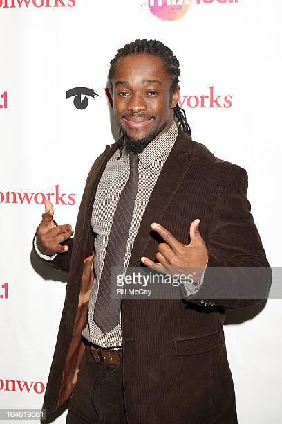 Superstar Kofi Kingston poses at Mix 1061 iHeartRadio Performance Theater March 25 2013 in Bala Cynwyd Pennsylvania