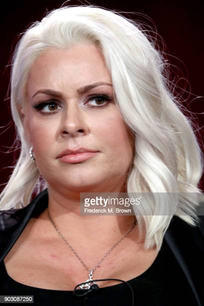 Superstar Maryse Ouellet of 'WWE Monday Night Raw 25th Anniversary' on USA speaks onstage during the NBCUniversal portion of the 2018 Winter...
