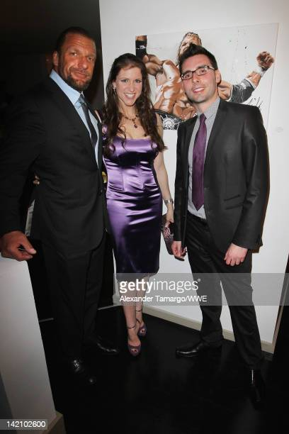 WWE Superstar Paul 'Triple H' Levesque and wife Stephanie McMahon and Art Rotondo attend WrestleMania Premiere Party A Celebration of Miami Art and...