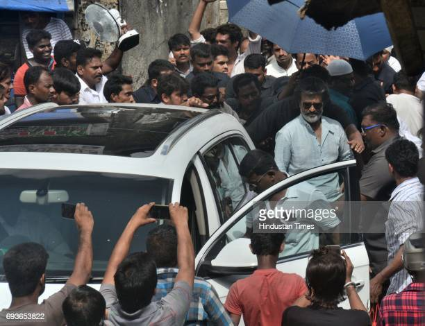 Superstar Rajinikanth spotted shooting for film Kaala Karikaalan at Wadala on May 29 2017 in Mumbai India The film is about a guy who runs away from...
