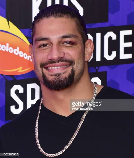 Superstar Roman Reigns attends Nickelodeon Kids' Choice Sports Awards 2018 at Barker Hangar on July 19 2018 in Santa Monica California