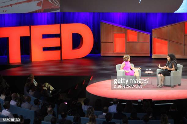US superstar tennis player Serena Williams discusses her tennis career and pending motherhood with journalist Gayle King during the TED Conference on...