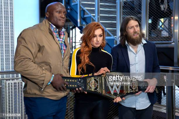 Superstars Bobby Lashley Becky Lynch and Daniel Bryan Celebrate Wrestlemania 35 at The Empire State Building on April 05 2019 in New York City