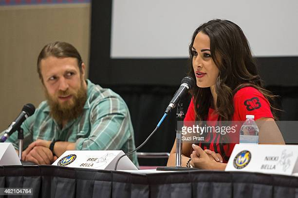 Superstars Daniel Bryan and Brie Danielson of The Bella Twins speaks at Wizard World Comicon at Oregon Convention Center on January 24, 2015 in...