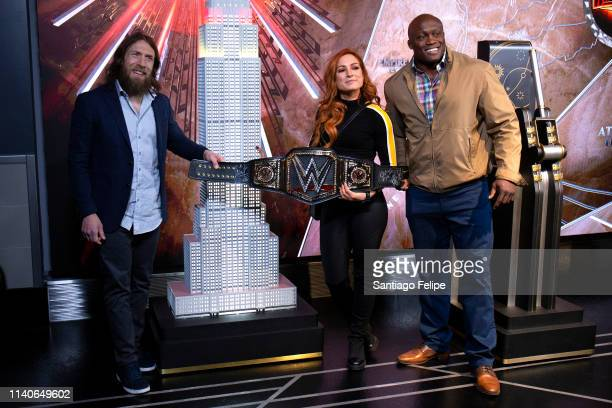 Superstars Daniel Bryan, Becky Lynch and Bobby Lashley Celebrate Wrestlemania 35 at The Empire State Building on April 05, 2019 in New York City.