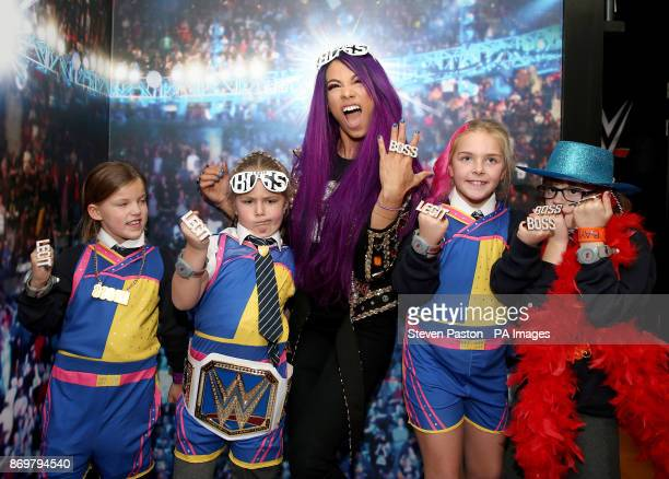 WWE Superstars Finn Balor and Sasha Banks meet children from Higham Ferrers Junior School school to launch the first ever WWE Academy at KidZania...