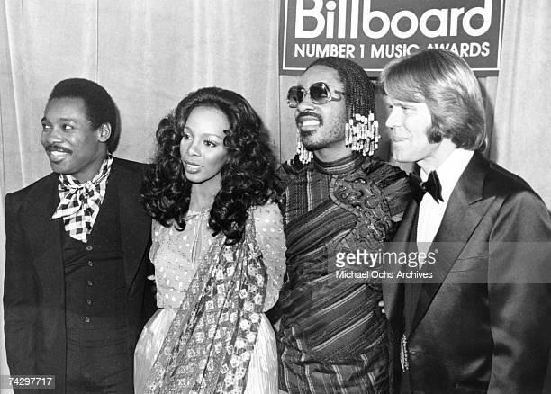 "Superstars George Benson, Donna Summer, Stevie Wonder and Glen Campbell attend the ""Billboard Number 1 Music Awards"" in circa 1980."