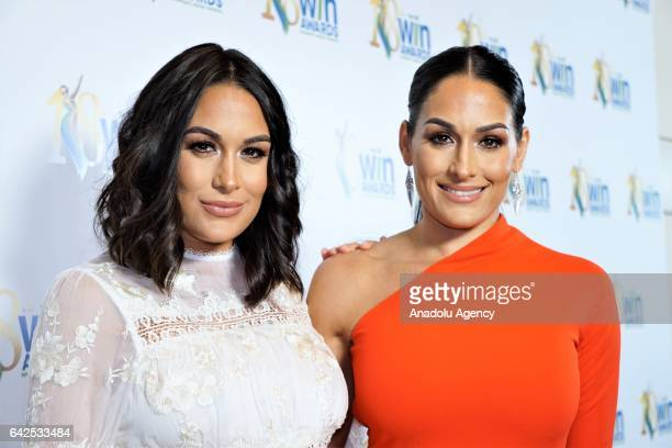 WWE superstars Nikki Bella and Brie Bella attend the 18th Annual Women's Image Awards at Skirball Cultural Center on February 17 2017 in Los Angeles...
