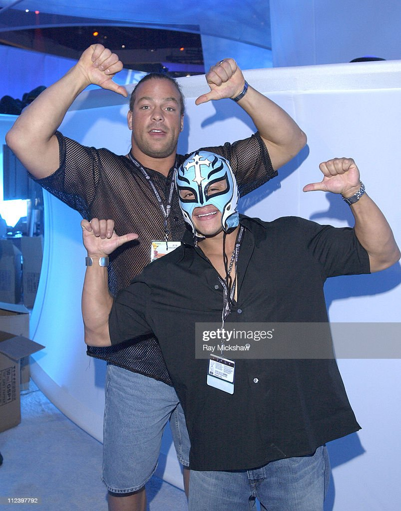 WWF Superstars Rob Van Dam and Rey Mysterio during Nintendos' Reality T.V. Celebrity Challenge at E3 Trade Show-Day 2 at Los Angeles Convention Center in Los Angeles, California, United States.