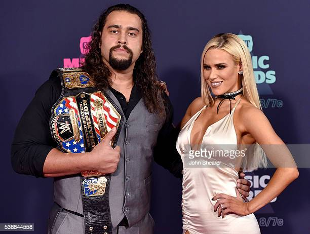 WWE superstars Rusev and Lana attend the 2016 CMT Music awards at the Bridgestone Arena on June 8 2016 in Nashville Tennessee