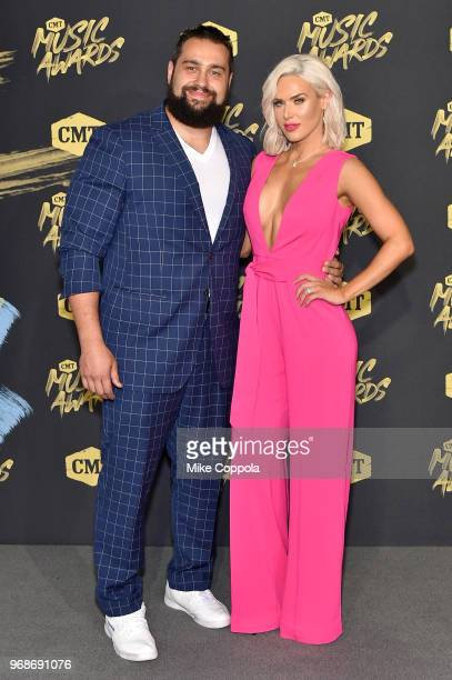 WWE superstars Rusev and Lana attend the 2018 CMT Music Awards at Bridgestone Arena on June 6 2018 in Nashville Tennessee