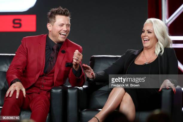 Superstars The Miz and Maryse Ouellet of 'WWE Monday Night Raw 25th Anniversary' on USA speak onstage during the NBCUniversal portion of the 2018...