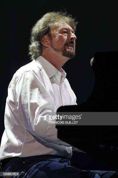 Supertramp rock band's founder singer and musician Rick Davies performs on stage during a concert part of the 7010 tour with several group's members...