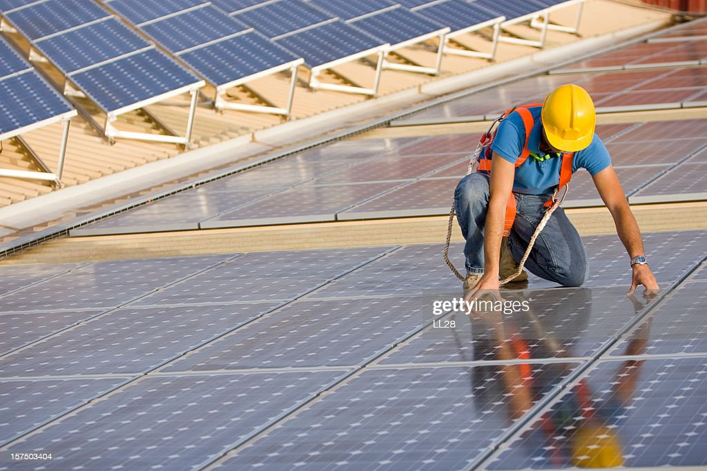 Supervising a photovoltaic instalation : Stock Photo