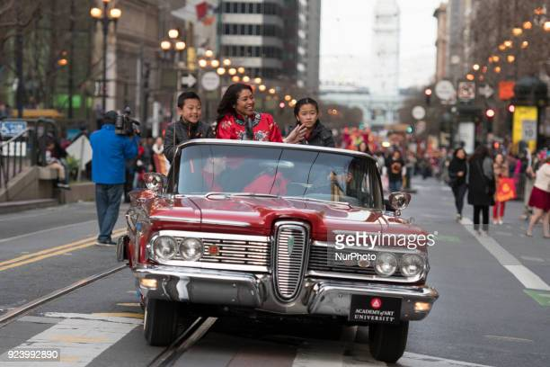 Supervisor London Breed waving to crowds on Market Street during the Chinese New Year Parade 2018 on February 24 in San Francisco California USA...