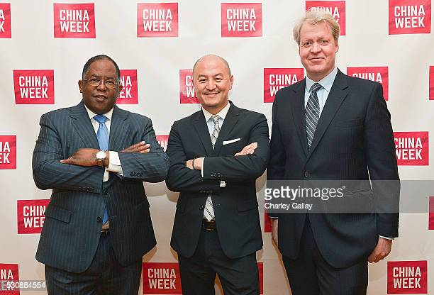 Supervisor Mark RidleyThomas Chairman ChinaWeek Peter Shiao and Charles 9th Earl Spencer attend ChinaWeek's Business Summit VIP Dinner at Empress...