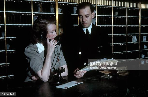 Supervisor sorts mail at the front desk in The Plaza Hotel in New York, New York.