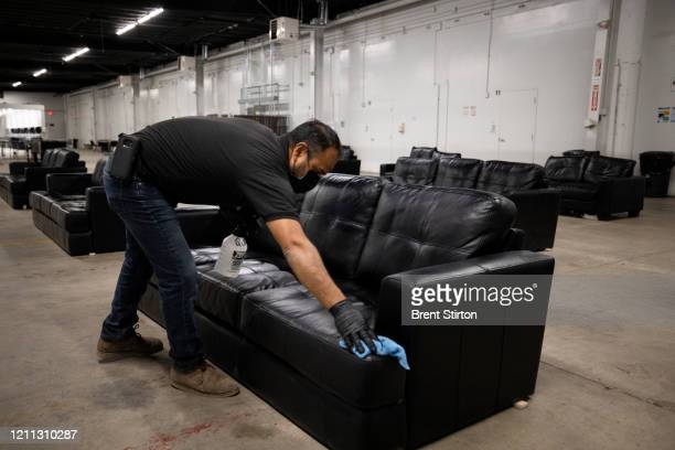 A supervisor with Fresh Harvest sanitizes the company living quarters on April 28 2020 in King City California Good accommodations for farm labor is...
