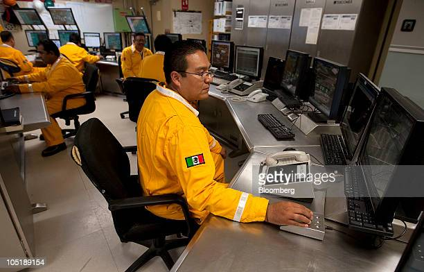 Supervisors work in the control room on the Ku Maloob Zaap oil rig owned by Mexican oil company Pemex located 65 miles northeast of Ciudad del Carmen...
