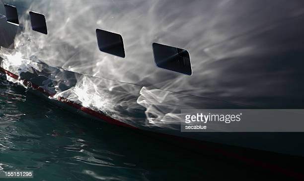 Superyacht Hull des réflexions de lumière