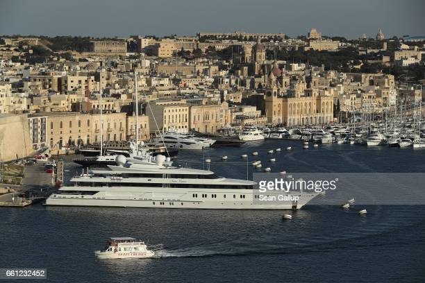 Superyacht, the Indian Empress, owned by Vijay Mallya, stands in The Grand Harbour as seen from Valletta on March 29, 2017 in Vittoriosa, Malta. In...