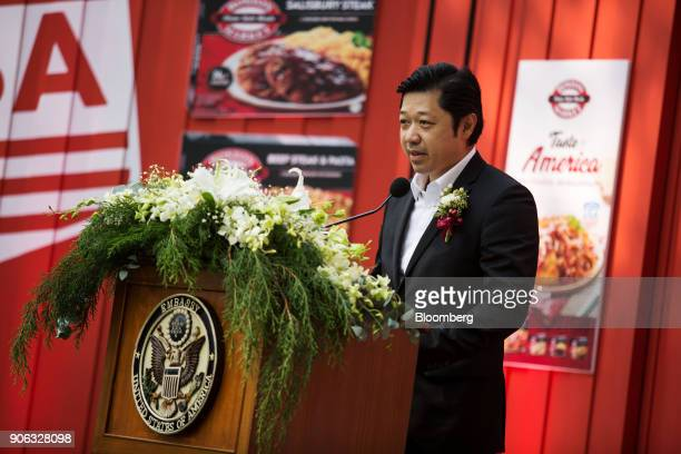 Suphachai Chearavanont chief executive officer of Charoen Pokphand Group speaks during a news conference at the US ambassador's residence in Bangkok...