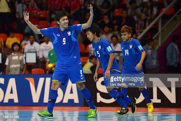 Suphawut Thuenklang of Thailand celebrates after scoring his teams second goal during the FIFA Futsal World Cup Group A match between Thailand and...