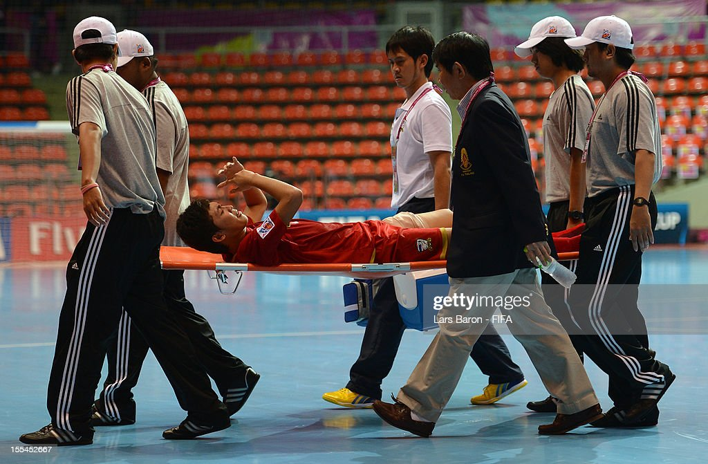 Suphawut Thuenklang of Thailand is seen with a bandage after loosing the FIFA Futsal World Cup Group A match between Thailand and Ukraine at Indoor Stadium Huamark on November 4, 2012 in Bangkok, Thailand.