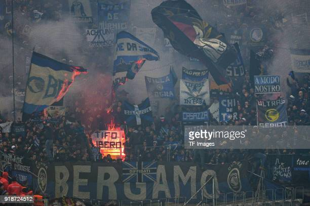 Suporters of Bergamo are seen during UEFA Europa League Round of 32 match between Borussia Dortmund and Atalanta Bergamo at the Westfalen Stadium on...