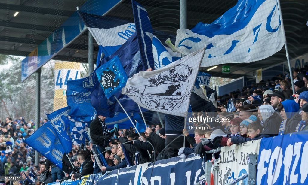 Suporters of Darmstadt are seen with flags during the Second Bundesliga match between SV Darmstadt 98 and MSV Duisburg at Merck-Stadion am Boellenfalltor on February 4, 2018 in Darmstadt, Germany.