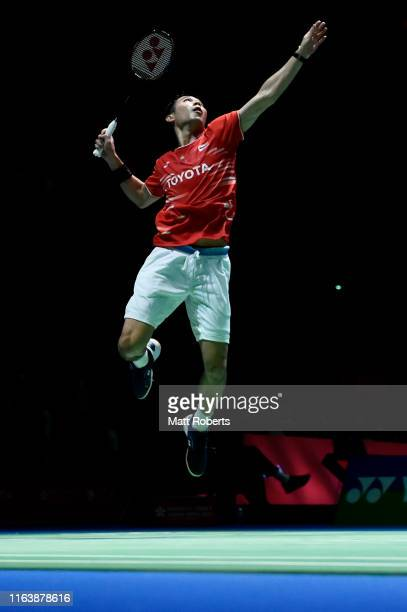 Suppanyu Avihingsanon of Malaysia competes in the men's singles match against Jonatan Christie of Indonesia on day two of the Daihatsu Yonex Japan...