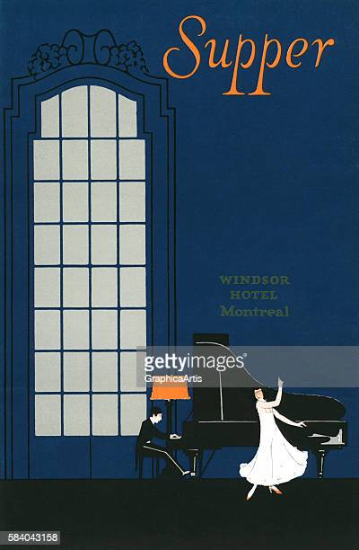 Supper menu art for the Windsor Hotel in Montreal featuring a grand piano and singer 1915 Lithograph