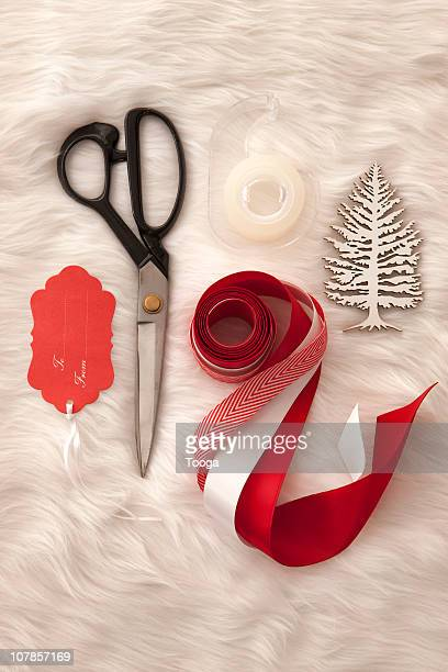 Supplies for holiday gift wrapping