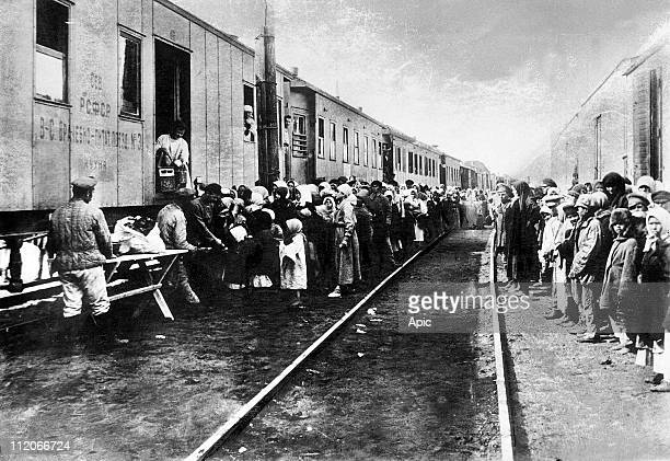 Supplies train for the russian transported convicts starving during deportation to Siberia 20's