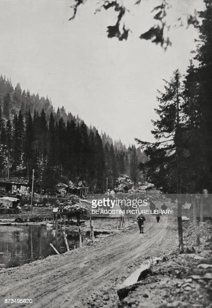 Supply station on the Asiago plateau Italy World War I from L'Illustrazione Italiana Year XLIV No 25 June 24 1917