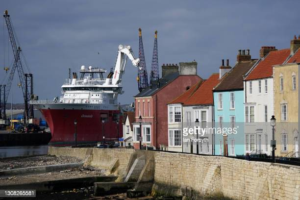 Supply vessel loads cargo at Hartlepool docks ahead of a visit to the town by Angela Rayner, Deputy Leader and Chair of the Labour Party and Dr Paul...