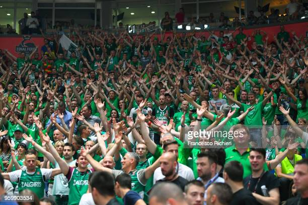 supporeters during the 2018 Turkish Airlines EuroLeague F4 Semifinal B game between Fenerbahce Dogus Istanbul v Zalgiris Kaunas at Stark Arena on May...