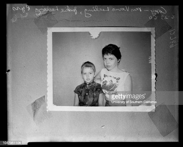 Support and alimony filing 23 June 1960 Mrs Verna LeelingJackie Leeling 8 years Caption slip reads 'Photographer Mitchell Date Reporter Coart...