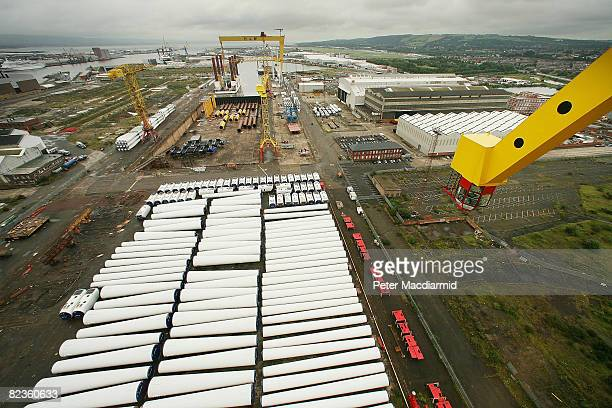 Support columns and other wind turbine parts wait assembly in Harland Wolff's shipyard on August 15 2008 in Belfast Northern Ireland 60 wind turbines...