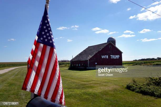 Support for President Donald Trump is painted across a barn on August 19 2020 near Clinton Wisconsin US Vice President Mike Pence spoke to workers...