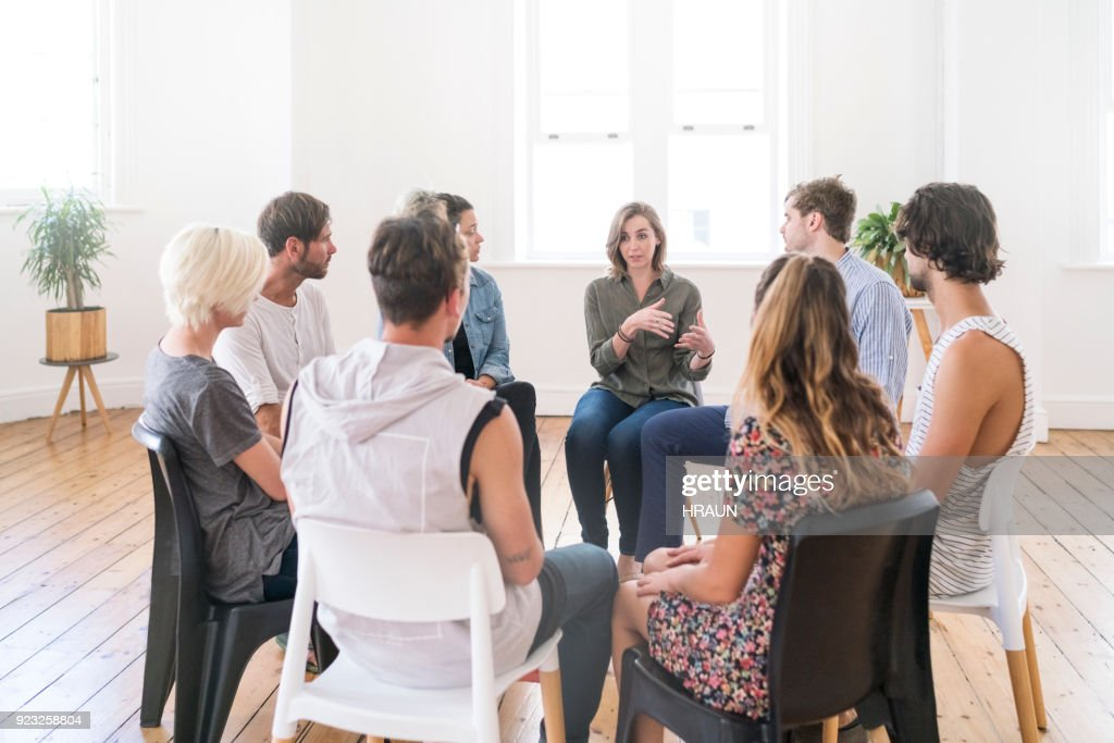 Support group gathering for a meeting : Stock Photo